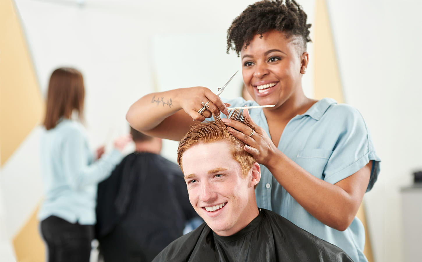 Customer getting haircut
