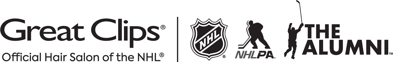 Logos of Great Clips, NHL, NHLPA and NHL Alumni Association