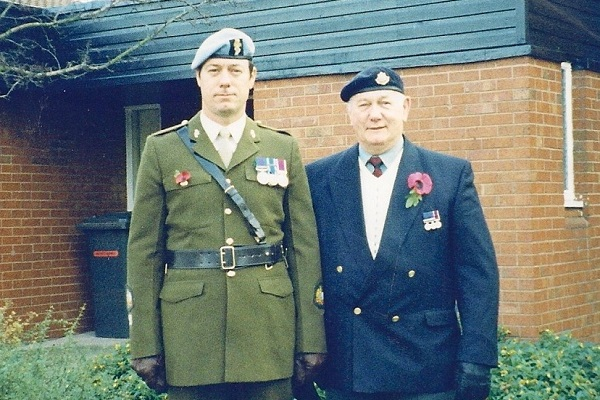 Dennis McFadden on Remembrance Day with his father