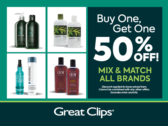 Shampoos and Conditioners are Buy One, Get One 50% off