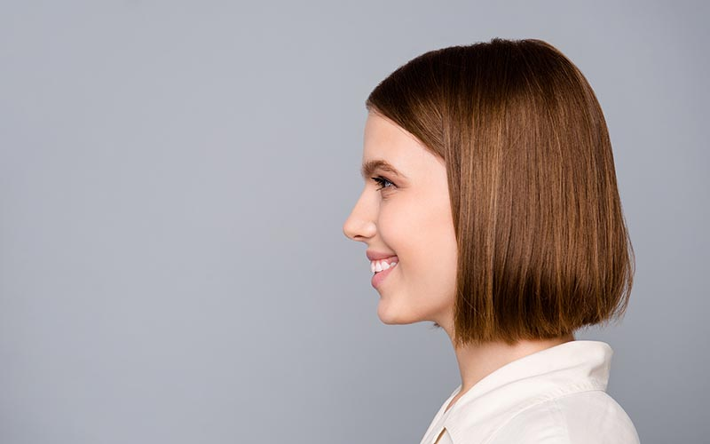 Woman with blunt bob hairstyle trend